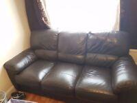 Brown Leather 3 Seater Sofa & Arm Chair