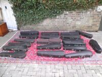 COLLECTION OF 18 X ANTIQUE & MODERN VIOLIN CASES FROM RECENT SALE IN MUSIC COLLEGE IN LONDON