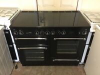 Rangemaster 110 electric cooker 110cm ceramic black double oven 3 months warranty free local deliver