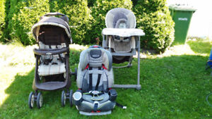 Complete system incl. high chair and bicycle seat