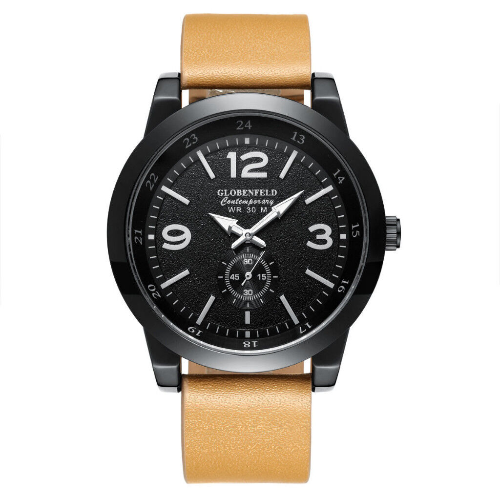 Globenfeld Contemporary Sports Watch Tanned Leather Strap Black Dial