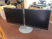"Twin Lenovo 19"" monitors on heavy duty stand BL2 Bolton"