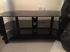 Black Glass TV stand like new