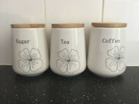 Tea Coffee Sugar Canister Set Jars Ceramic Storage Excellent Condition