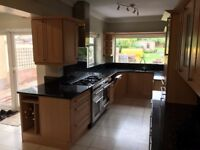 Kitchen for sale including Solid Oak doors, colour matched units, Granite worktop. Some appliances