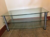Glass tv stand - 3 shelves - good condition !