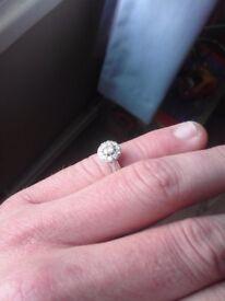 9crt white gold halo engagement ring
