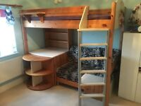 Stompa Casa Childrens High Bed - Pull out Desk, Pull Out Guest Bed/Sofa + Book Shelf