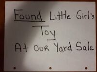 Found Doll at our Yard Sale, July 22nd, lost by mom & daughter