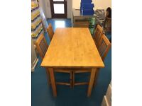 IKEA Solid Wood Dining Table & Chairs