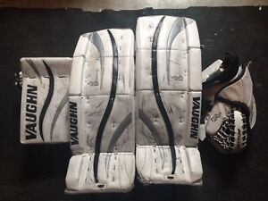 Youth goalie pads, blocker, trapper and skates