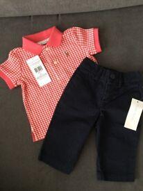 Ralph Lauren baby boy polo shirt and navy pants