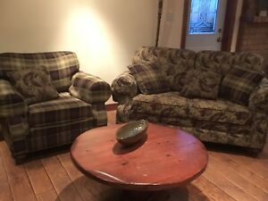Loveseat couch, chair and coffee table for sale
