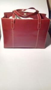 LARGE RED LEATHER WILSON TOTE