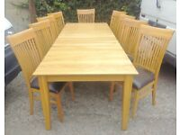 Solid oak Extendable dining table& chairs
