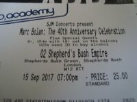 2 x Marc Bolan 40th Anniversary Celebration Tickets for Friday 15th September @ O2 Shepherds Bush