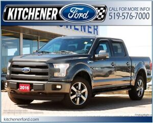 2016 Ford F-150 LARIAT/4WD/LEATHER/CAMERA/NAVI/RMT START/ADJ...