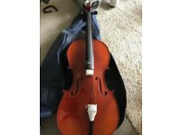 Brand new inter music student cello with case bow strap RRP £300