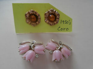 VINTAGE EARRINGS CORO TOPAZ KRAMER TULIPS
