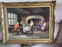 "Vintage Print on Canvas in Gilt Frame - "" Landlords Brew"" by Margaret Dovaston"