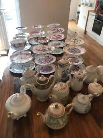 Vintage china teapots and three tier cakes stands - wedding events -job lot