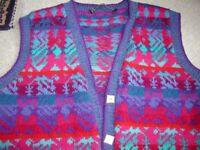Sleeveless wool designer waistcoat or tanktop