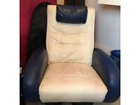 Single bed + mattress and leather swivel chair
