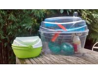 Gerbil bundle including gerbilarium, exercise ball and portable carrier