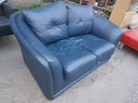 Sofa - 2 Seater Extra Comfy Soft Blue Leather Sofa