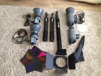 studio flash kit 3-4 Head 300 watt Photodeals, Giottos LC325