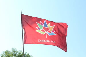 Price Reduced  CANADA 150 Flag 3 ft by 5 ft RED flag