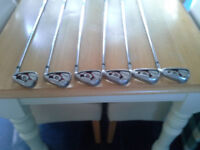 Wilson Staff D200 golf irons -- 5 to PW with Cleveland 57 degree sand wedge SW in great condition