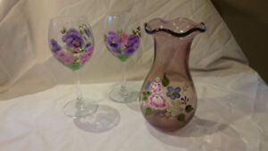 Painted wine glasses and vase
