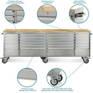 ALL NEW24 DRAWER STAINLESS STEEL 8 FT WORK BENCH TOOL DRAWER