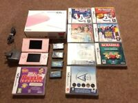 Pink Nintendo DS Lite + 10 games & Charger