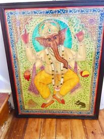 Ganesha, Indian temple painting, bright colours & gold paint.