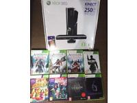 Xbox 360 250gb with Kinect and 8 games