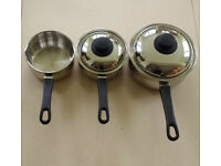 Quality 18/10 stainless steel with aluminium base 2x saucepans & 1x milk pan