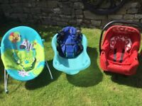 Baby bath, Carrier, Bouncy chair, Car seat - £15 the lot but may split (all in good condition)
