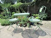 Avignon 3 Piece Green Bistro Patio Outdoor Table Set - New with Labels RRP £149.00