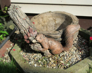 Cement Planter Pot with a Squirrel design - Very Heavy