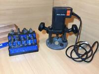 Black & Decker Router with 15X bits Set fully working