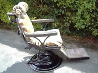 very are 1920s dentist chait with zabra skin with child seat
