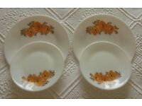 Vintage 1960 Pyrex Plates Orange Flower on White: Kitchen/ Tableware/ Retro/ VW Campervan/Collectors