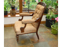 VICTORIAN UPHOLSTERED ELBOW / ARM CHAIR - SOMERSET TA20 3RS