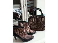 Size 5 Leopard print and Black boots and bag