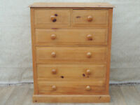 Chest of Drawers Chunky 6 Drawer pine wood (Delivery)
