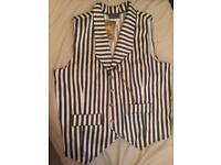 Striped moulin rouge waist coat with gold chain