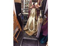 Indian bridal dress ivory satin antique gold stone work heavy embellishment ivory and maroon