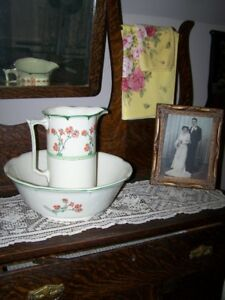 Floral Themed Newhall Hanley Staffs Made in England Antique Wash